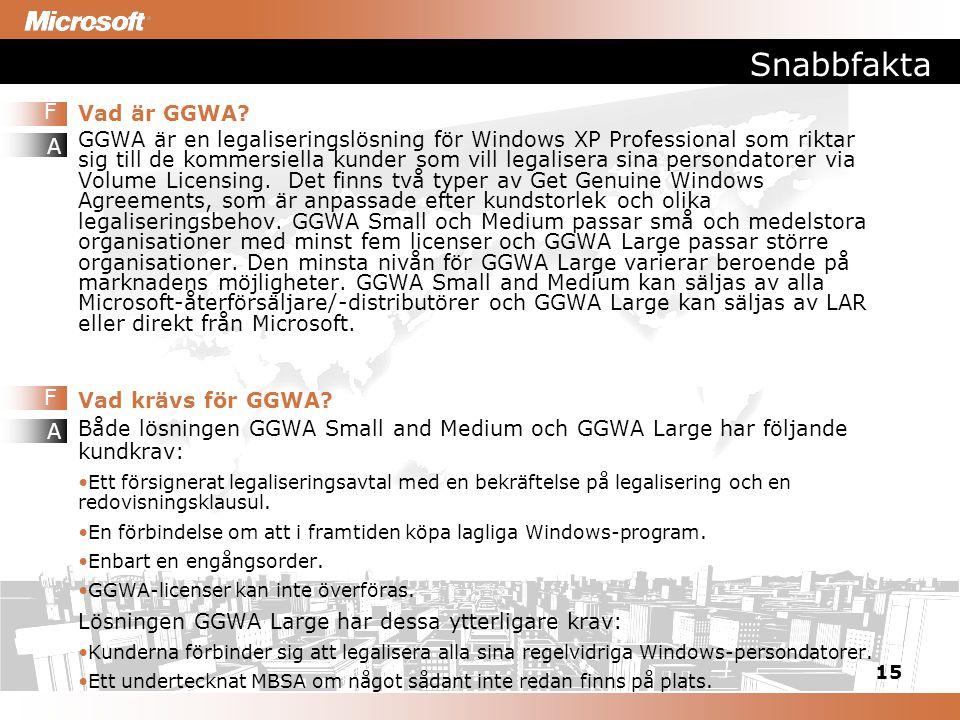 15 Snabbfakta Vad är GGWA? GGWA är en legaliseringslösning för Windows XP Professional som riktar sig till de kommersiella kunder som vill legalisera