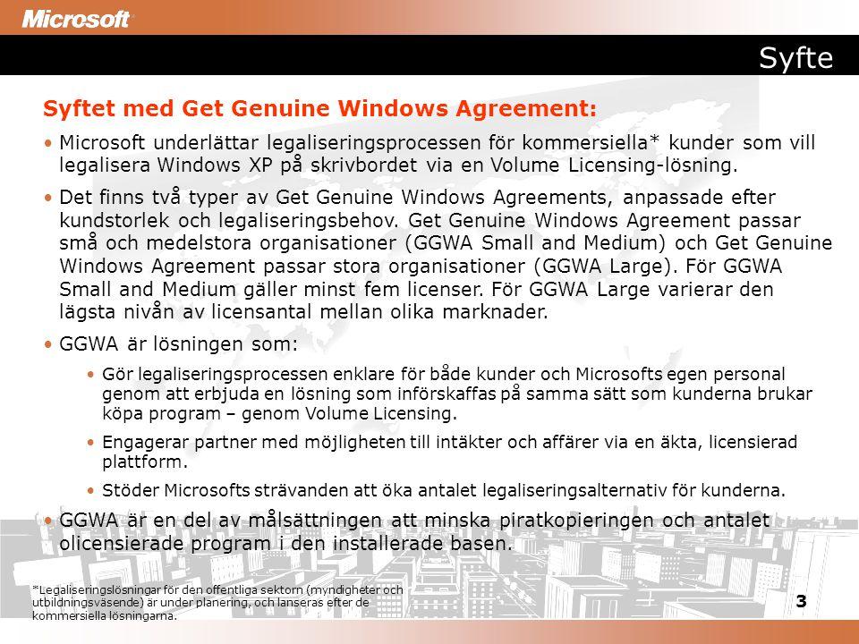 3 Syfte Syftet med Get Genuine Windows Agreement: Microsoft underlättar legaliseringsprocessen för kommersiella* kunder som vill legalisera Windows XP på skrivbordet via en Volume Licensing-lösning.
