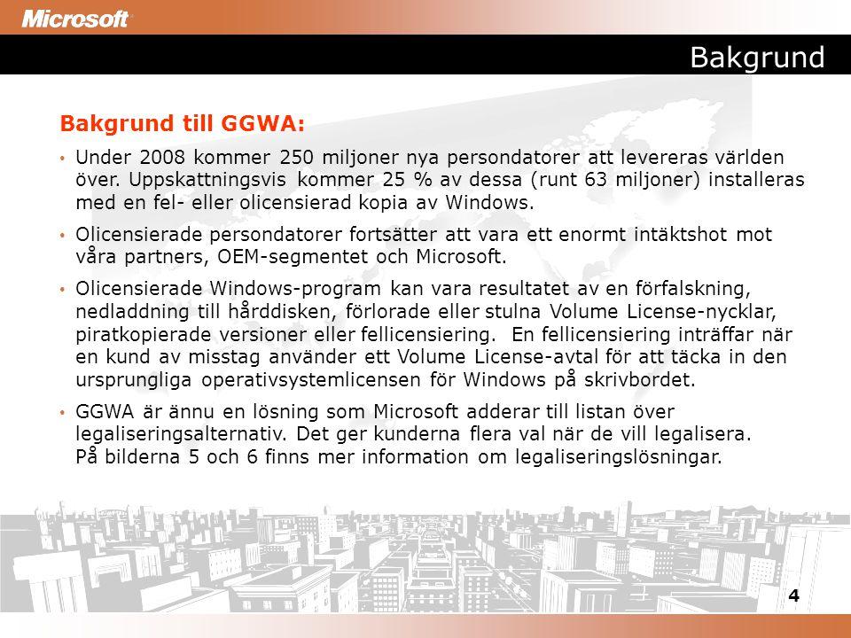 4 Bakgrund Bakgrund till GGWA: Under 2008 kommer 250 miljoner nya persondatorer att levereras världen över. Uppskattningsvis kommer 25 % av dessa (run