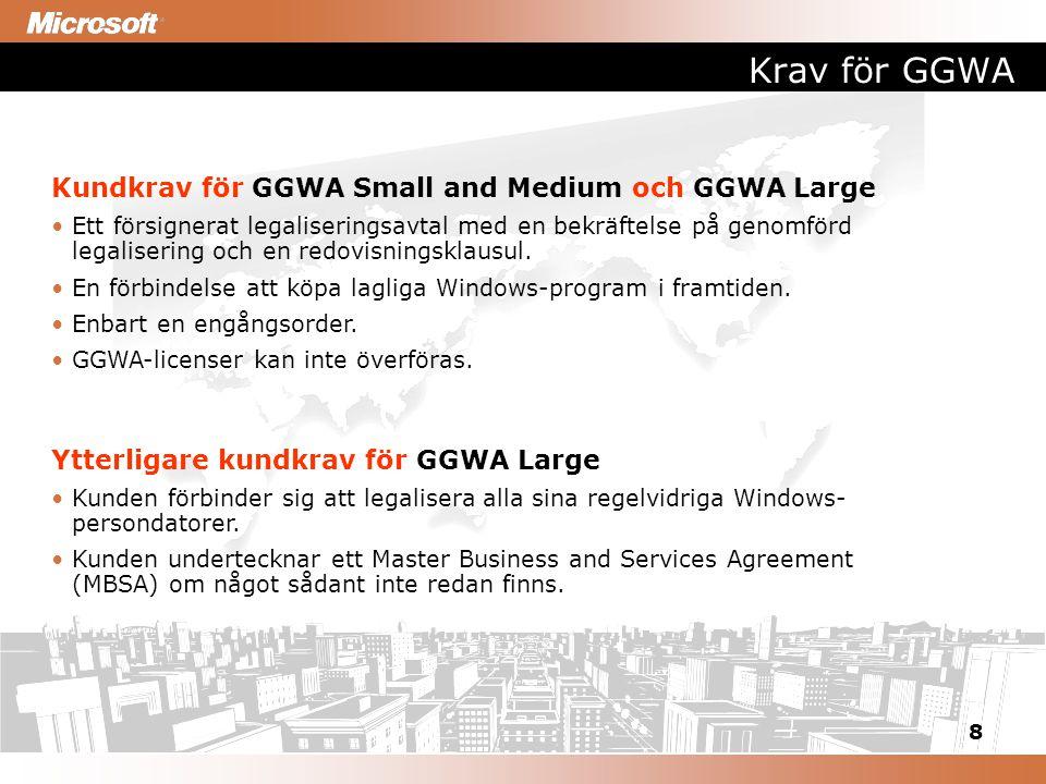 8 Krav för GGWA Kundkrav för GGWA Small and Medium och GGWA Large Ett försignerat legaliseringsavtal med en bekräftelse på genomförd legalisering och