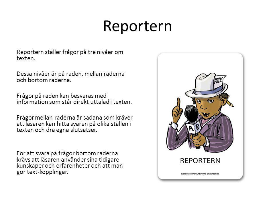 Reportern Reportern ställer frågor på tre nivåer om texten. Dessa nivåer är på raden, mellan raderna och bortom raderna. Frågor på raden kan besvaras