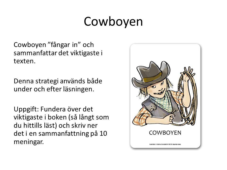 """Cowboyen Cowboyen """"fångar in"""" och sammanfattar det viktigaste i texten. Denna strategi används både under och efter läsningen. Uppgift: Fundera över d"""
