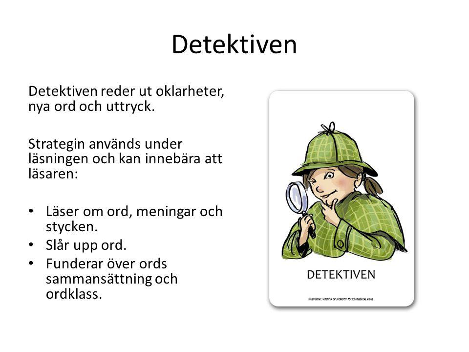 Detektiven Detektiven reder ut oklarheter, nya ord och uttryck. Strategin används under läsningen och kan innebära att läsaren: Läser om ord, meningar