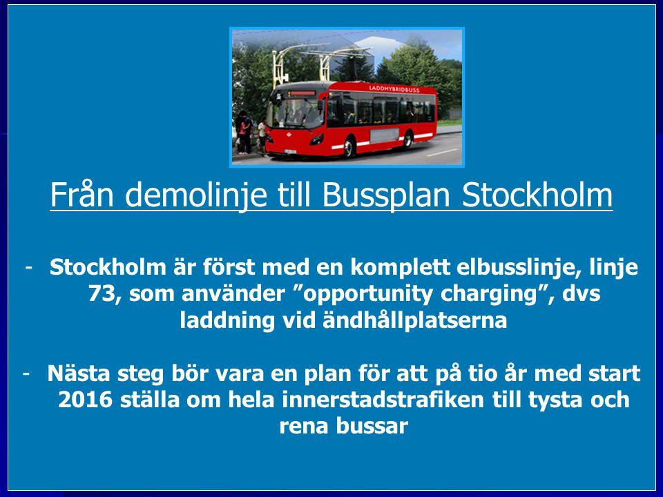 Från demolinje till Bussplan Stockholm -Stockholm är först med en komplett elbusslinje, linje 73, som använder opportunity charging , dvs laddning vid ändhållplatserna -Nästa steg bör vara en plan för att på tio år med start 2016 ställa om hela innerstadstrafiken till tysta och rena bussar