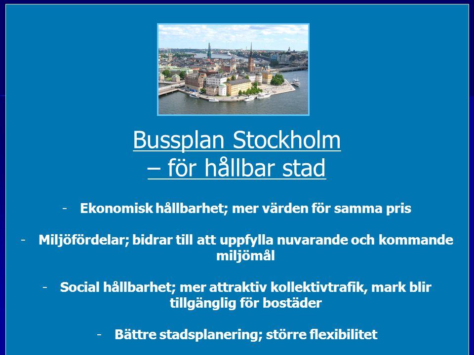 Bussplan Stockholm -underlag för politiska initiativ -i Stadshus och Landstingshus -Initiativtagare Sjöstadsföreningen, ElBil2020 och ElectriCITY -Fortsättning på arbetet med Demolinje ElBuss -Underlag från Volvo, Vattenfall, WSP och Miljöförvaltningen