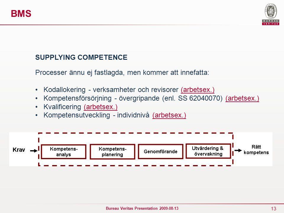 13 Bureau Veritas Presentation 2009-08-13 BMS SUPPLYING COMPETENCE Processer ännu ej fastlagda, men kommer att innefatta: Kodallokering - verksamheter och revisorer (arbetsex.)(arbetsex.) Kompetensförsörjning - övergripande (enl.