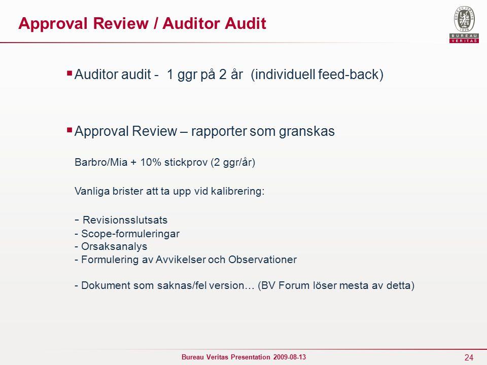 24 Bureau Veritas Presentation 2009-08-13 Approval Review / Auditor Audit  Auditor audit - 1 ggr på 2 år (individuell feed-back)  Approval Review – rapporter som granskas Barbro/Mia + 10% stickprov (2 ggr/år) Vanliga brister att ta upp vid kalibrering: - Revisionsslutsats - Scope-formuleringar - Orsaksanalys - Formulering av Avvikelser och Observationer - Dokument som saknas/fel version… (BV Forum löser mesta av detta)