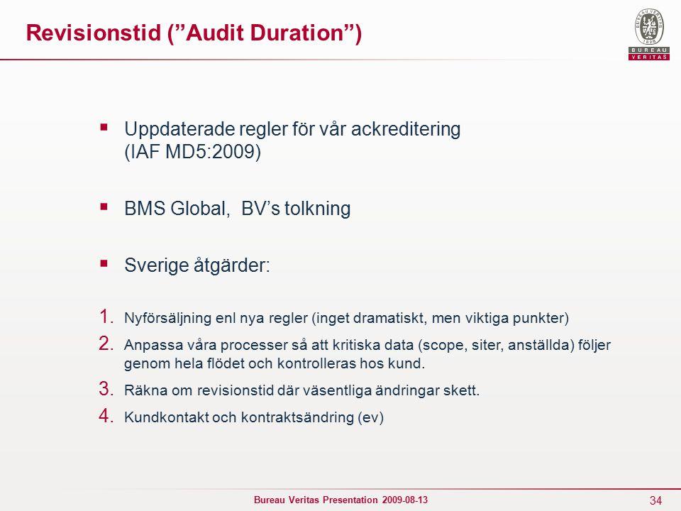 34 Bureau Veritas Presentation 2009-08-13 Revisionstid ( Audit Duration )  Uppdaterade regler för vår ackreditering (IAF MD5:2009)  BMS Global, BV's tolkning  Sverige åtgärder: 1.