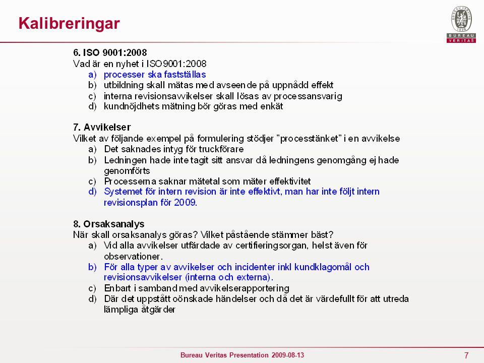 28 Bureau Veritas Presentation 2009-08-13 Suspendering / indragning ► Suspendering: Powerpipe Systems AB– senare återupprättat certifikat ► Indragning: RP-Verktyg AB RCP Renator (senare nytt kontrakt och nytt cert.) ABP Induktion Segre?