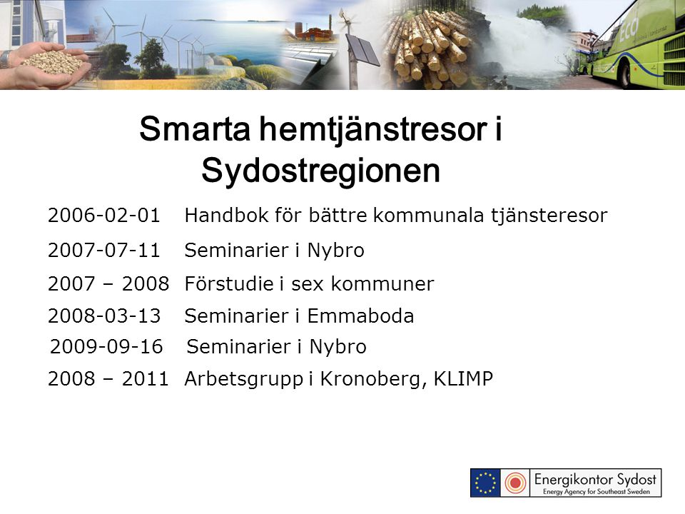 Smarta hemtjänstresor i Sydostregionen 2006-02-01Handbok för bättre kommunala tjänsteresor 2007-07-11Seminarier i Nybro 2008-03-13Seminarier i Emmabod