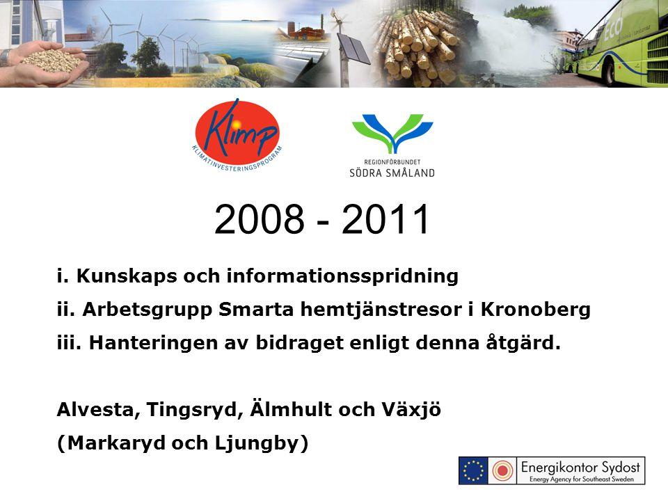 2008 - 2011 i. Kunskaps och informationsspridning ii. Arbetsgrupp Smarta hemtjänstresor i Kronoberg iii. Hanteringen av bidraget enligt denna åtgärd.