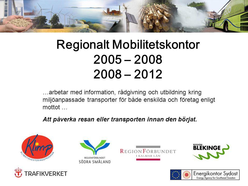 Regionalt Mobilitetskontor 2005 – 2008 2008 – 2012 …arbetar med information, rådgivning och utbildning kring miljöanpassade transporter för både enski