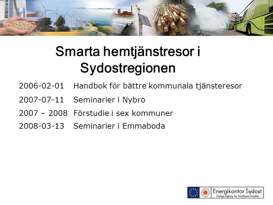 Smarta hemtjänstresor i Sydostregionen 2006-02-01Handbok för bättre kommunala tjänsteresor 2007-07-11Seminarier i Nybro 2007 – 2008Förstudie i sex kom