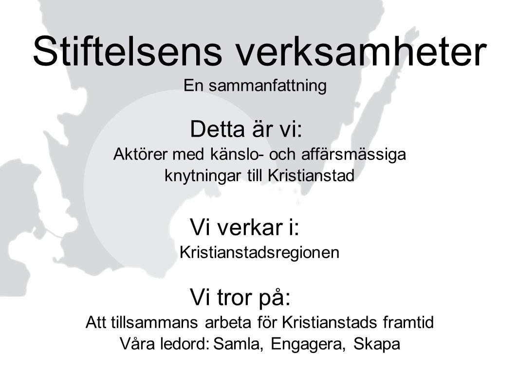 Detta är vi: Aktörer med känslo- och affärsmässiga knytningar till Kristianstad Vi verkar i: Kristianstadsregionen Vi tror på: Att tillsammans arbeta