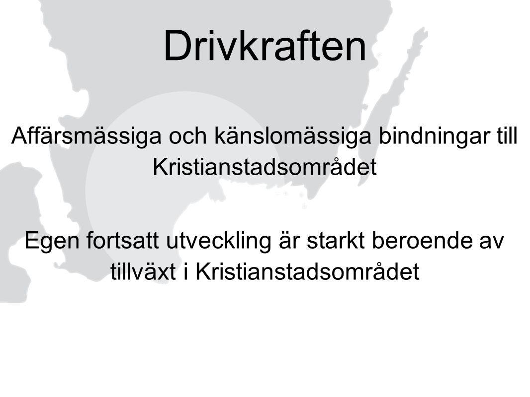 Affärsmässiga och känslomässiga bindningar till Kristianstadsområdet Egen fortsatt utveckling är starkt beroende av tillväxt i Kristianstadsområdet Dr