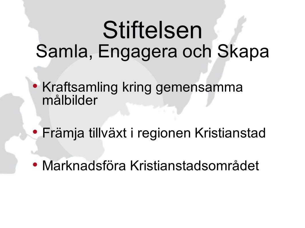 Stiftelsen Samla, Engagera och Skapa Kraftsamling kring gemensamma målbilder Främja tillväxt i regionen Kristianstad Marknadsföra Kristianstadsområdet