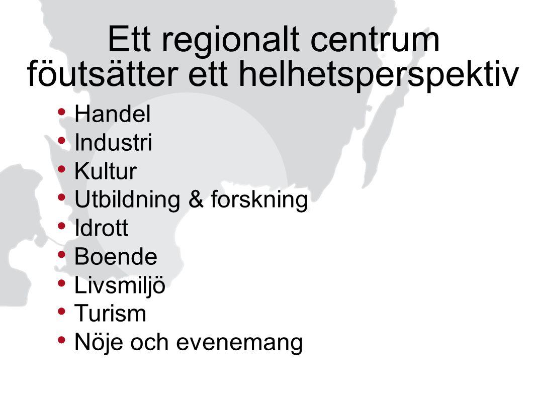 Ett regionalt centrum föutsätter ett helhetsperspektiv Handel Industri Kultur Utbildning & forskning Idrott Boende Livsmiljö Turism Nöje och evenemang