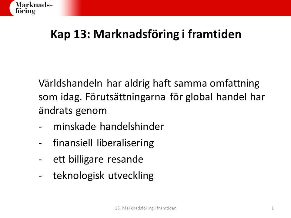 Kap 13: Marknadsföring i framtiden Världshandeln har aldrig haft samma omfattning som idag. Förutsättningarna för global handel har ändrats genom -min