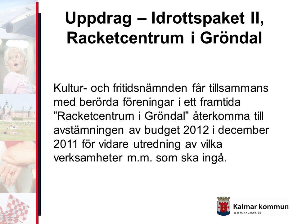 Uppdrag – Idrottspaket II, Racketcentrum i Gröndal Kultur- och fritidsnämnden får tillsammans med berörda föreningar i ett framtida Racketcentrum i Gröndal återkomma till avstämningen av budget 2012 i december 2011 för vidare utredning av vilka verksamheter m.m.