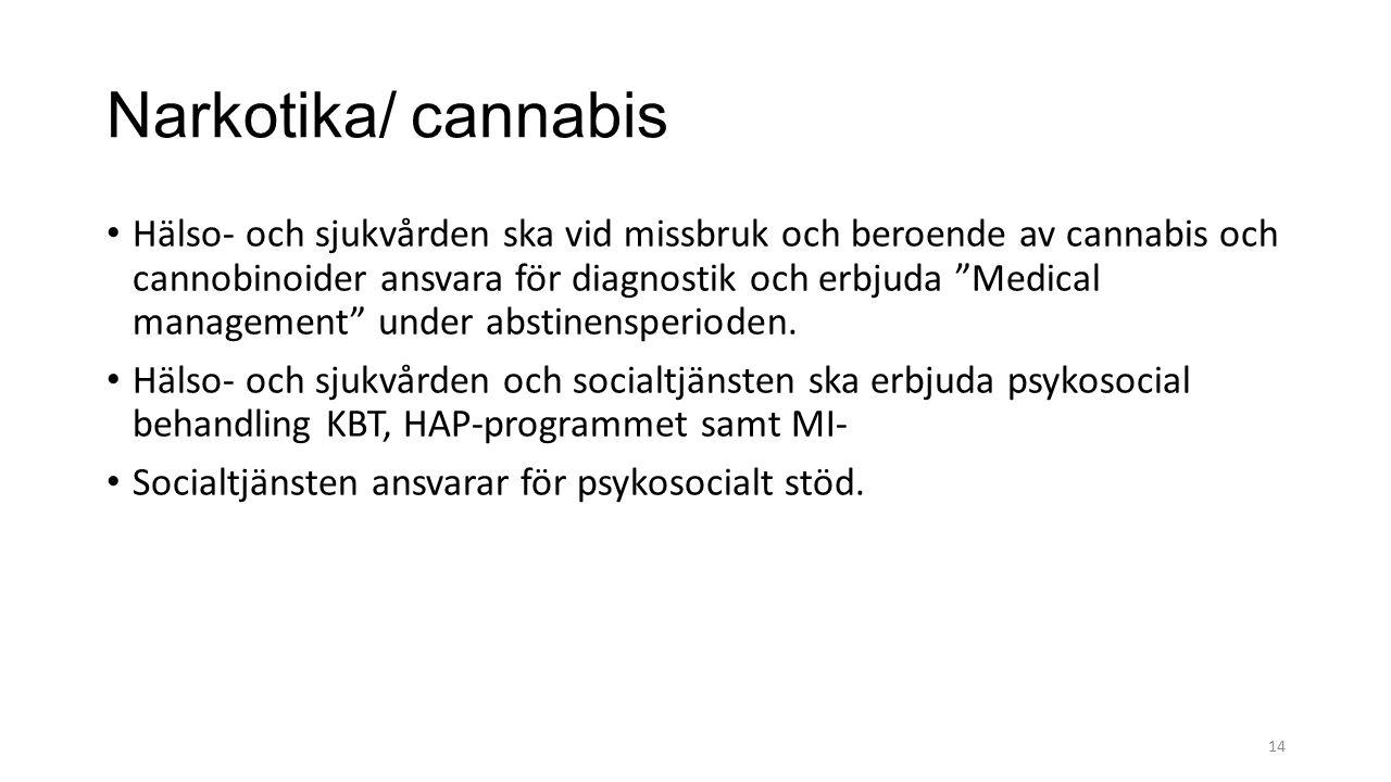 Narkotika/ cannabis Hälso- och sjukvården ska vid missbruk och beroende av cannabis och cannobinoider ansvara för diagnostik och erbjuda Medical management under abstinensperioden.