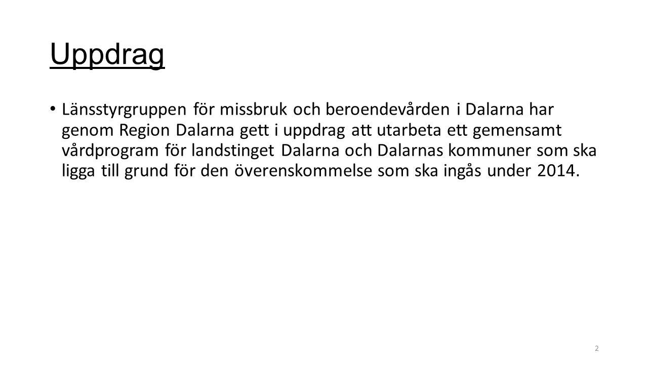Uppdrag Länsstyrgruppen för missbruk och beroendevården i Dalarna har genom Region Dalarna gett i uppdrag att utarbeta ett gemensamt vårdprogram för landstinget Dalarna och Dalarnas kommuner som ska ligga till grund för den överenskommelse som ska ingås under 2014.