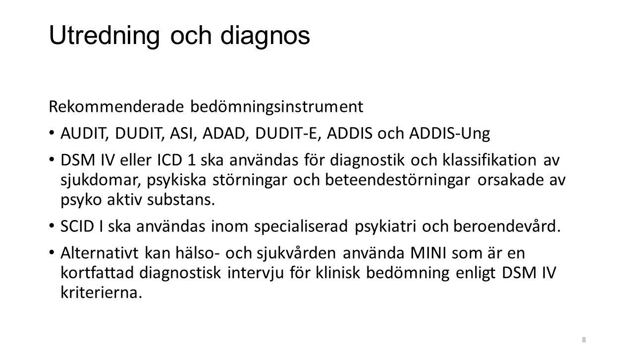 Utredning och diagnos Rekommenderade bedömningsinstrument AUDIT, DUDIT, ASI, ADAD, DUDIT-E, ADDIS och ADDIS-Ung DSM IV eller ICD 1 ska användas för diagnostik och klassifikation av sjukdomar, psykiska störningar och beteendestörningar orsakade av psyko aktiv substans.