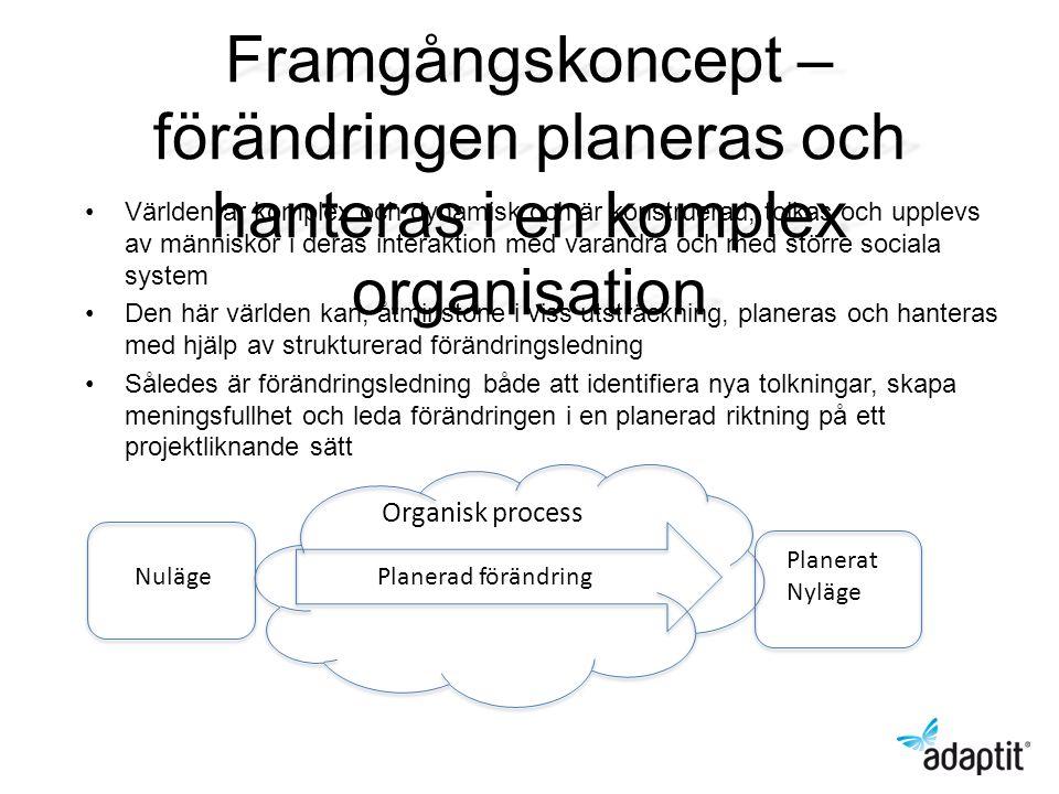 Framgångskoncept – förändringen planeras och hanteras i en komplex organisation Världen är komplex och dynamisk och är konstruerad, tolkas och upplevs