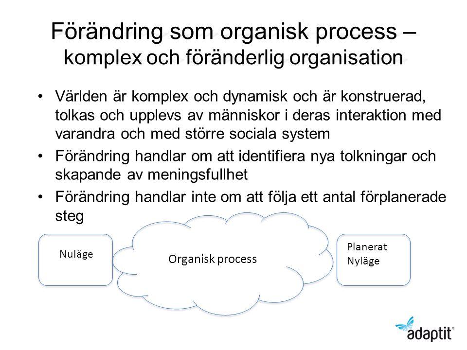 Förändring som organisk process – komplex och föränderlig organisation Världen är komplex och dynamisk och är konstruerad, tolkas och upplevs av männi