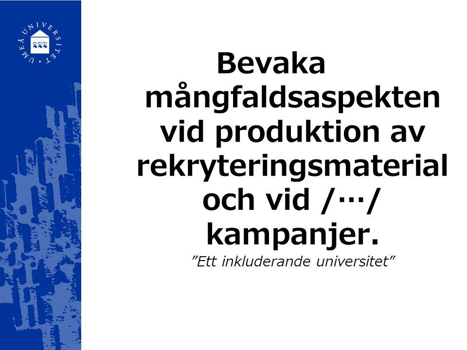 """Bevaka mångfaldsaspekten vid produktion av rekryteringsmaterial och vid /…/ kampanjer. """"Ett inkluderande universitet"""""""