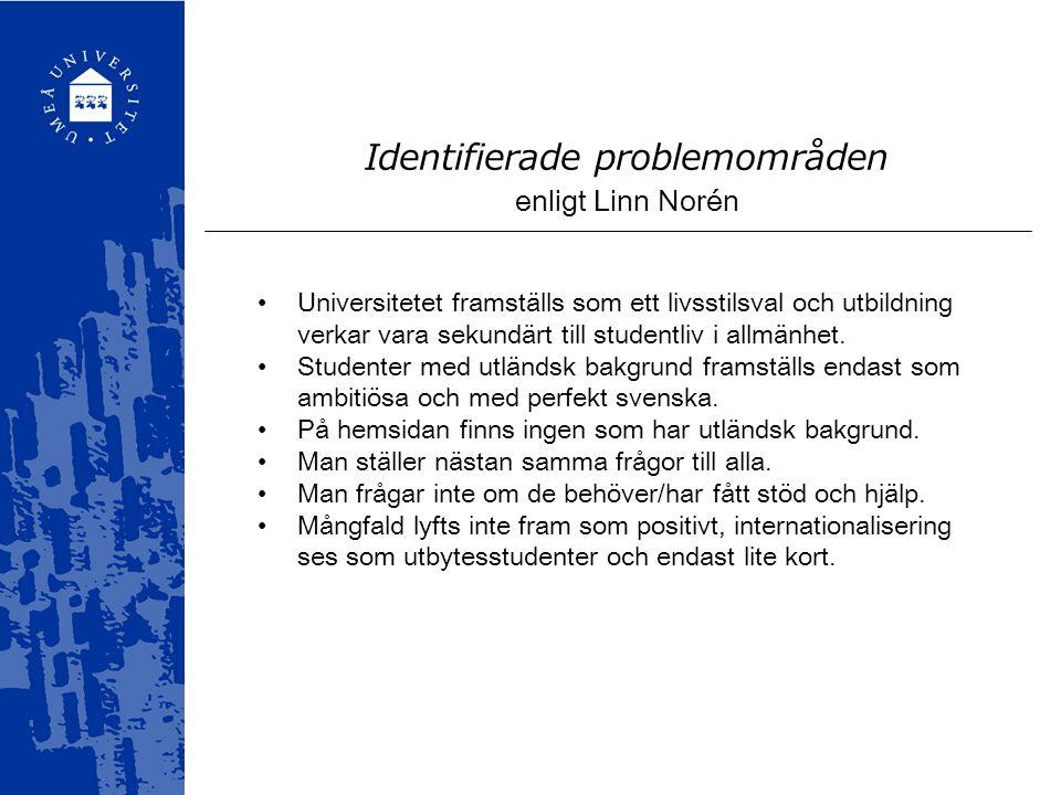 Identifierade problemområden enligt Linn Norén Universitetet framställs som ett livsstilsval och utbildning verkar vara sekundärt till studentliv i al