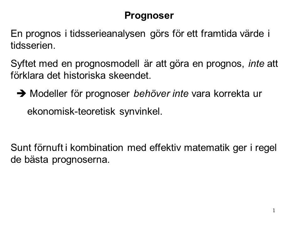 1 Prognoser En prognos i tidsserieanalysen görs för ett framtida värde i tidsserien. Syftet med en prognosmodell är att göra en prognos, inte att förk