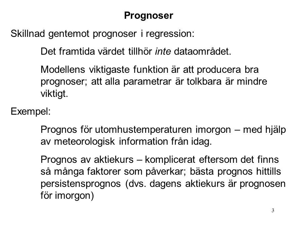 3 Prognoser Skillnad gentemot prognoser i regression: Det framtida värdet tillhör inte dataområdet. Modellens viktigaste funktion är att producera bra