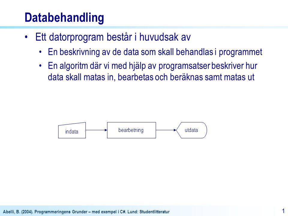Abelli, B. (2004). Programmeringens Grunder – med exempel i C#. Lund: Studentlitteratur 11 indata bearbetningutdata Databehandling Ett datorprogram be