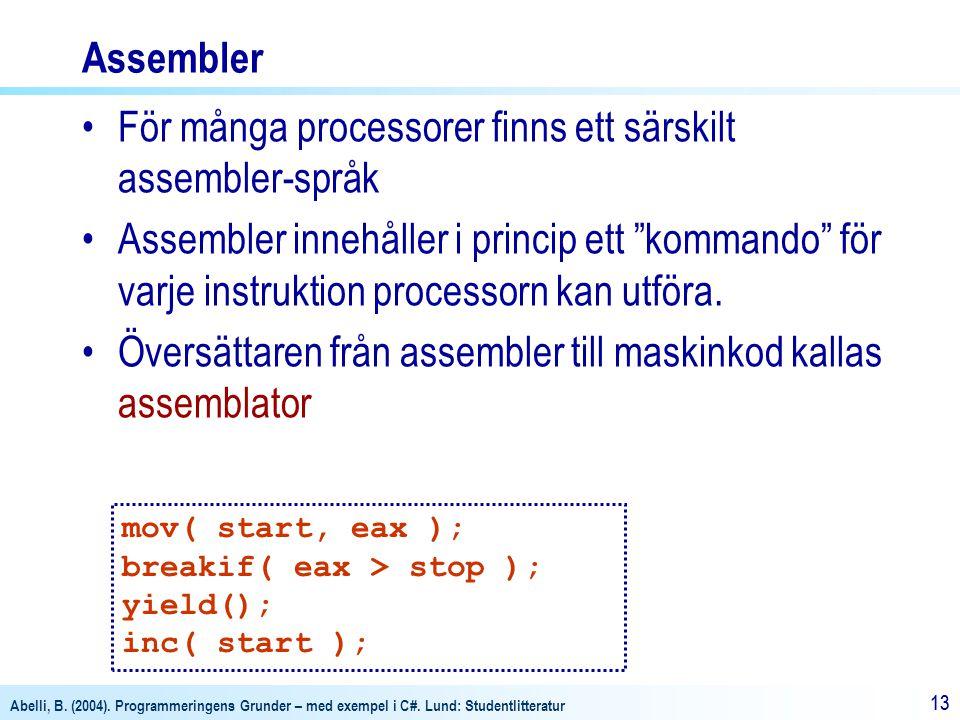 Abelli, B. (2004). Programmeringens Grunder – med exempel i C#. Lund: Studentlitteratur 13 Assembler För många processorer finns ett särskilt assemble