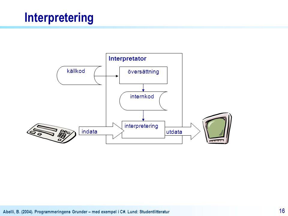 Abelli, B. (2004). Programmeringens Grunder – med exempel i C#. Lund: Studentlitteratur 16 Interpretator översättning internkod utdata källkod interpr