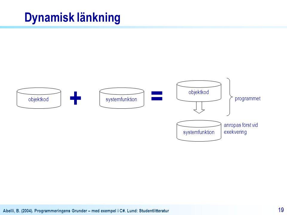 Abelli, B. (2004). Programmeringens Grunder – med exempel i C#. Lund: Studentlitteratur 19 objektkodsystemfunktion objektkod anropas först vid exekver