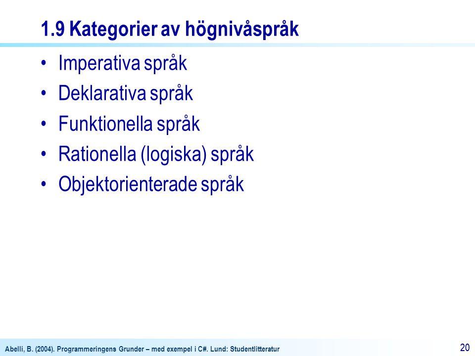 Abelli, B. (2004). Programmeringens Grunder – med exempel i C#. Lund: Studentlitteratur 20 1.9 Kategorier av högnivåspråk Imperativa språk Deklarativa