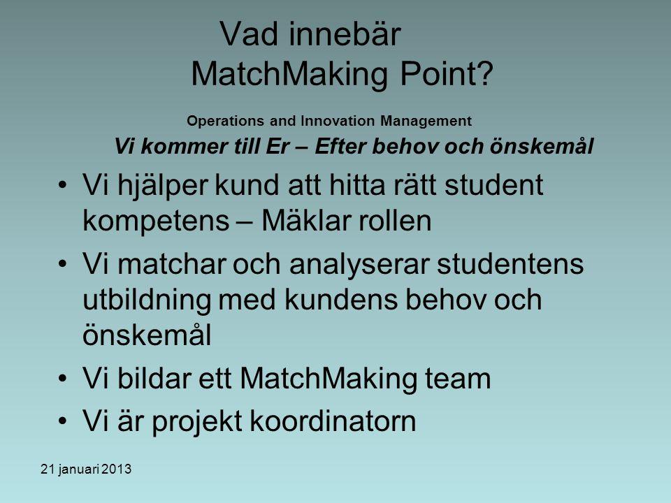 21 januari 2013 Vad innebär MatchMaking Point.