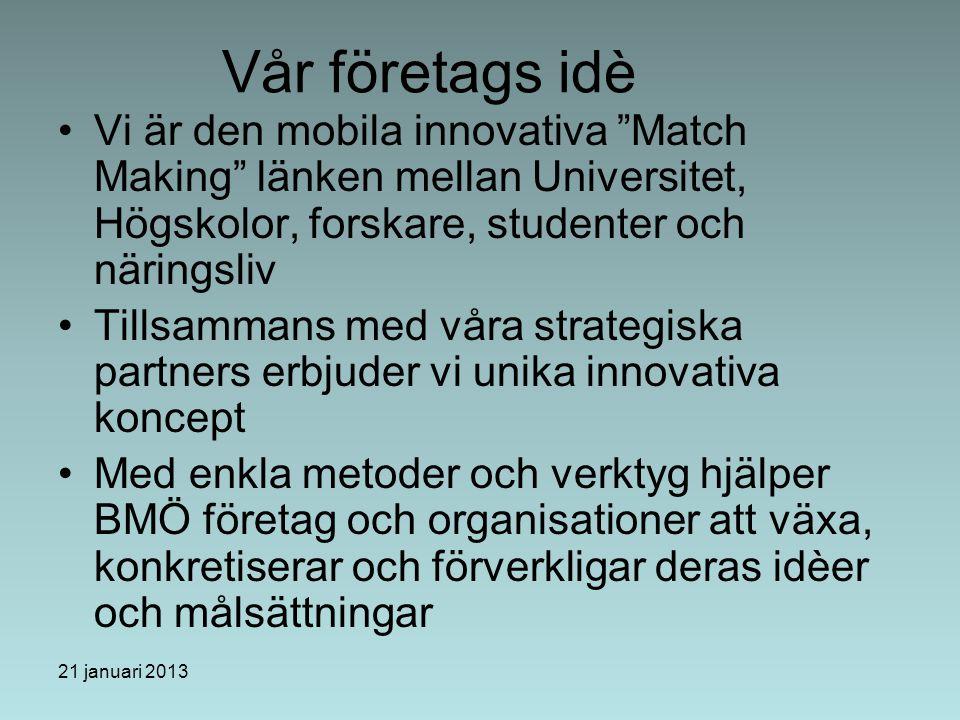 21 januari 2013 Vår företags idè Vi är den mobila innovativa Match Making länken mellan Universitet, Högskolor, forskare, studenter och näringsliv Tillsammans med våra strategiska partners erbjuder vi unika innovativa koncept Med enkla metoder och verktyg hjälper BMÖ företag och organisationer att växa, konkretiserar och förverkligar deras idèer och målsättningar