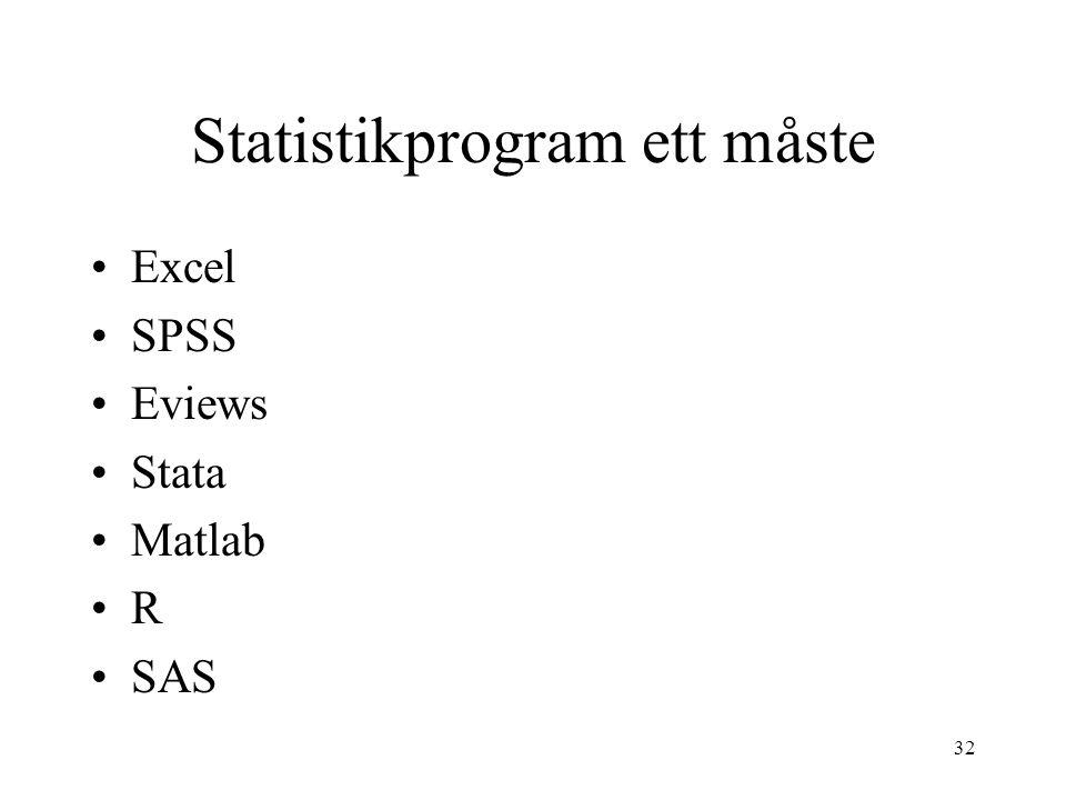 32 Statistikprogram ett måste Excel SPSS Eviews Stata Matlab R SAS
