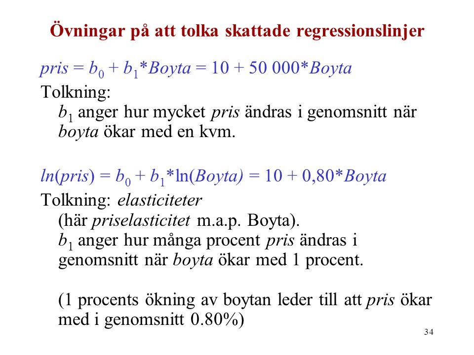 34 Övningar på att tolka skattade regressionslinjer pris = b 0 + b 1 *Boyta = 10 + 50 000*Boyta Tolkning: b 1 anger hur mycket pris ändras i genomsnit