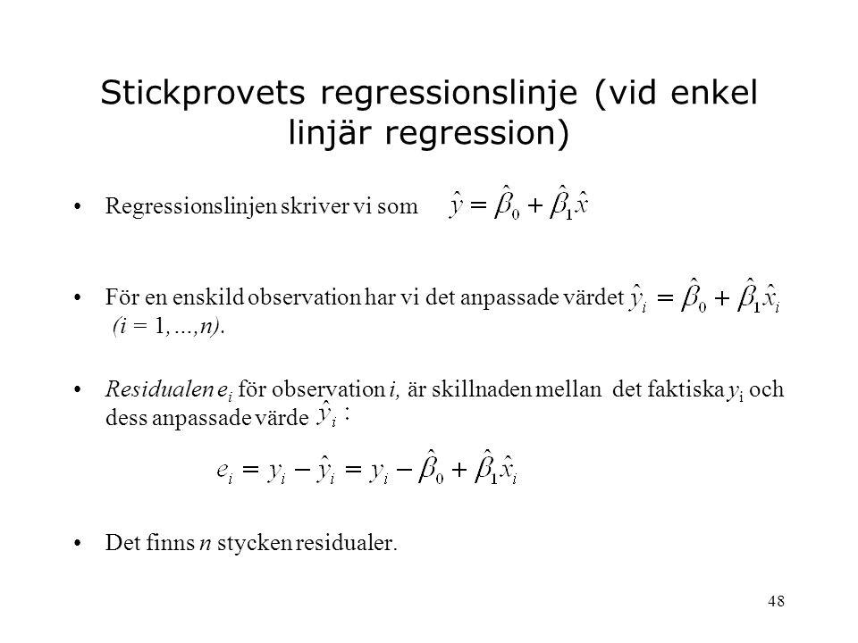 48 Stickprovets regressionslinje (vid enkel linjär regression) Regressionslinjen skriver vi som För en enskild observation har vi det anpassade värdet