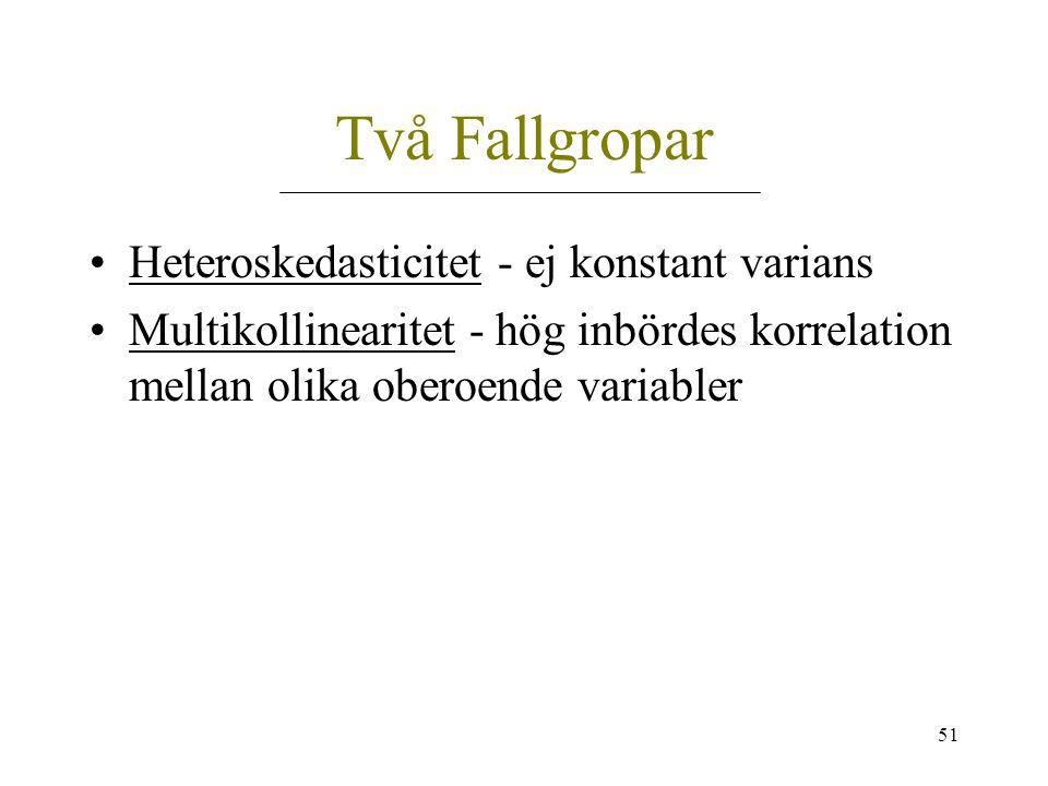 51 Två Fallgropar Heteroskedasticitet - ej konstant varians Multikollinearitet - hög inbördes korrelation mellan olika oberoende variabler