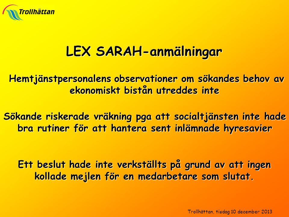 LEX SARAH-anmälningar Hemtjänstpersonalens observationer om sökandes behov av ekonomiskt bistån utreddes inte Hemtjänstpersonalens observationer om sö