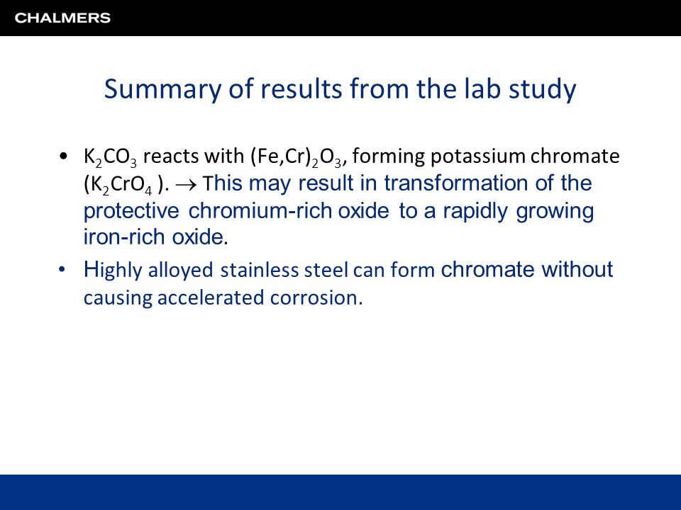 Summary of results from the lab study K 2 CO 3 reacts with (Fe,Cr) 2 O 3, forming potassium chromate (K 2 CrO 4 ).