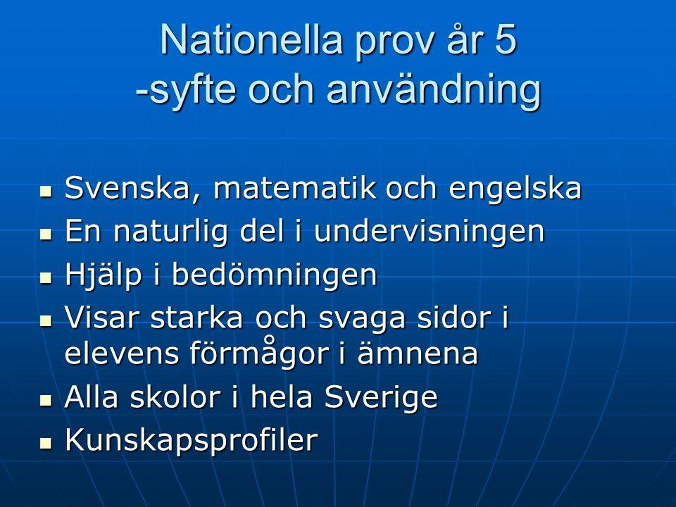 Nationella prov år 5 -syfte och användning Svenska, matematik och engelska Svenska, matematik och engelska En naturlig del i undervisningen En naturli