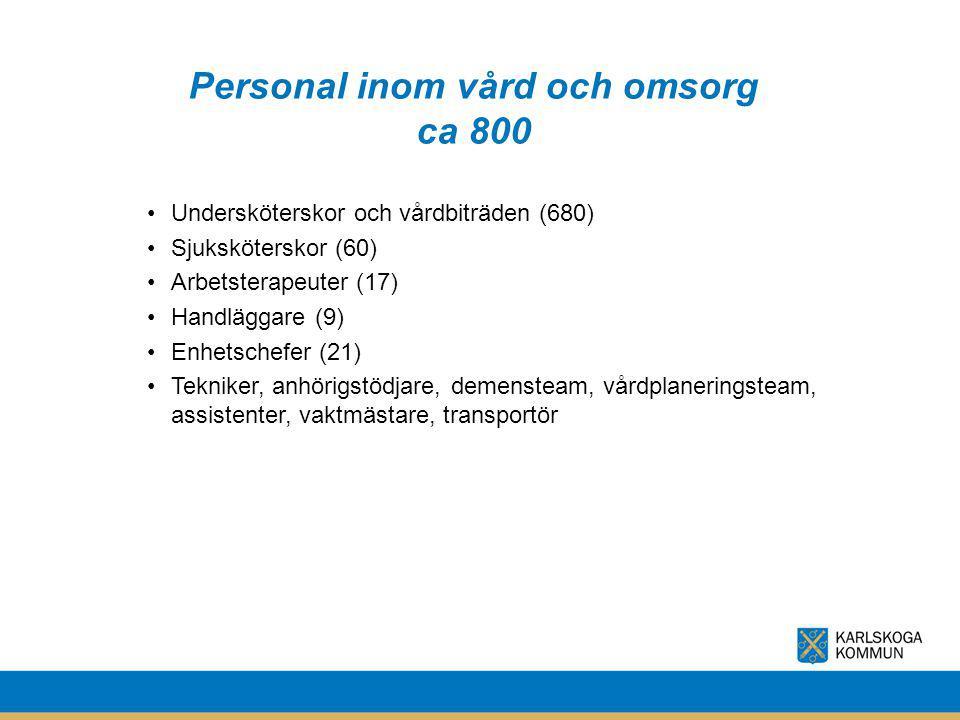 Personal inom vård och omsorg ca 800 Undersköterskor och vårdbiträden (680) Sjuksköterskor (60) Arbetsterapeuter (17) Handläggare (9) Enhetschefer (21