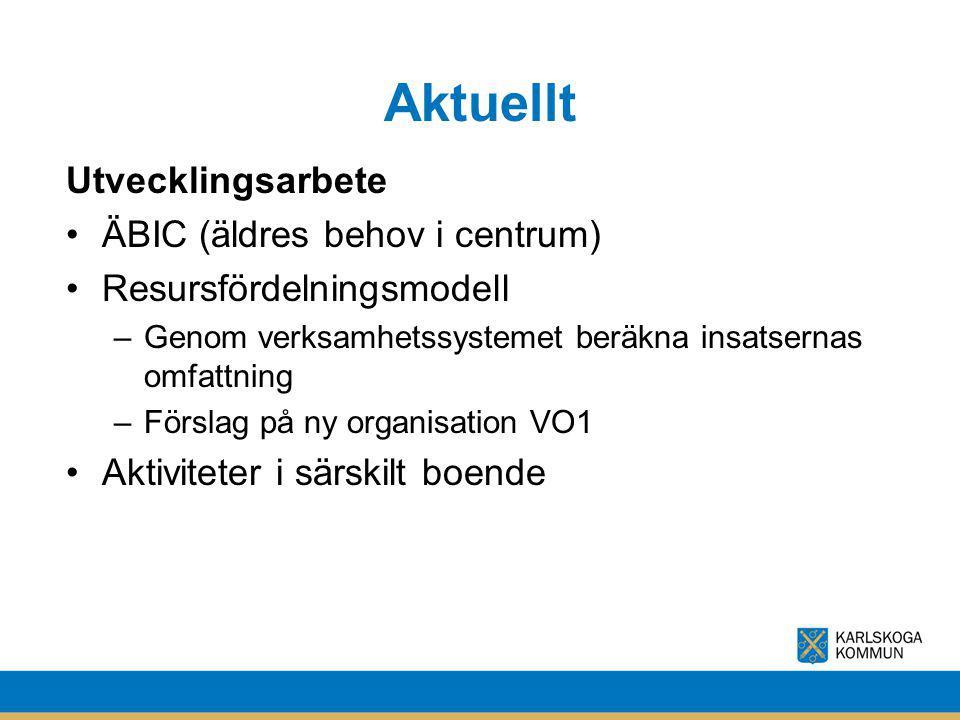 Aktuellt Utvecklingsarbete ÄBIC (äldres behov i centrum) Resursfördelningsmodell –Genom verksamhetssystemet beräkna insatsernas omfattning –Förslag på