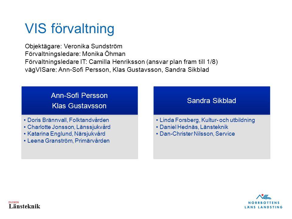 DIVISION Länsteknik VIS förvaltning Ann-Sofi Persson Klas Gustavsson Doris Brännvall, Folktandvården Charlotte Jonsson, Länssjukvård Katarina Englund,