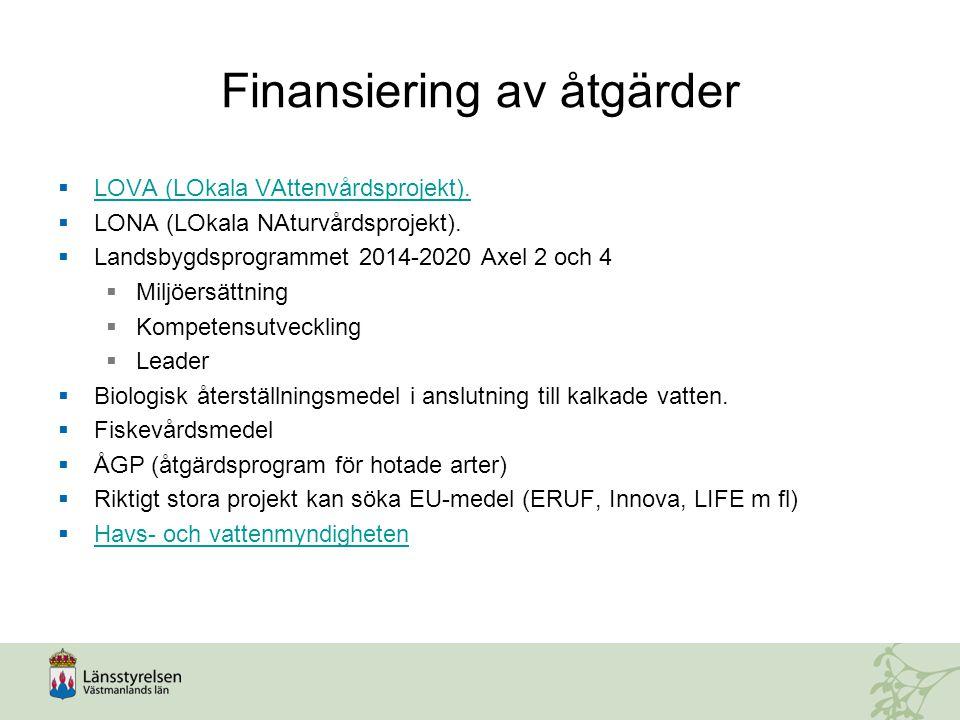 Finansiering av åtgärder  LOVA (LOkala VAttenvårdsprojekt). LOVA (LOkala VAttenvårdsprojekt).  LONA (LOkala NAturvårdsprojekt).  Landsbygdsprogramm